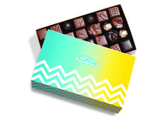 RMCF signature Large Nut and Caramel Gift Box with spring themed sleeve. #chevron