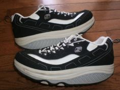 WOMENS 7.5 SKECHERS SHAPE-UPS black WALKING SHOES running ATHLETIC toning VGUC!