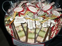 This is such a cute idea to use for any holiday or celebration!  Address labels stick onto the little Nugget candy bars perfectly!!