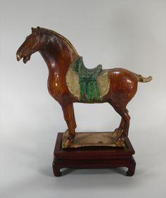 Chinese Sancai Glazed Pottery Horse with Saddle, Tang Dynasty