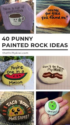 40 Punny Painted Rocks Just For Word Games - Funny Ideas To Try . - 40 Punny Painted Rocks For word games only – Funny ideas to try - Rock Painting Patterns, Rock Painting Ideas Easy, Rock Painting Designs, Paint Designs, Stone Crafts, Rock Crafts, Cute Crafts, Crafts To Do, Crafts With Rocks