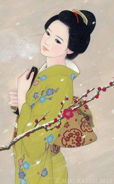 Japanese Art Styles, Japanese Drawings, Japanese Artwork, Japanese Painting, Japanese Artists, Geisha Drawing, Geisha Art, Japon Illustration, Japanese Illustration