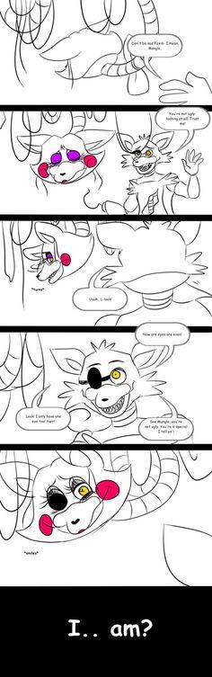 A Foxy x Mangle comic thing I guess by E-C98 on DeviantArt