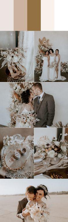 Five Stylish Fall Wedding Color Palettes (Junebug Weddings) Neutral Wedding Colors, Wedding Color Schemes, Wedding Blog, Wedding Styles, Wedding Trends, Wedding Decor, Rustic Wedding, Wedding Ideas, Theia Bridal