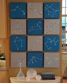 """Zodiac Constellation Wall Art Brighten up your kid's room while teaching an astronomy lesson with this illuminated craft from TV crafter Jim """"Figgy"""" Noonan. Constellation Art, Zodiac Constellations, Diy And Crafts, Crafts For Kids, String Art, String Lights, Nail String, Diy Art, Wall Art Crafts"""