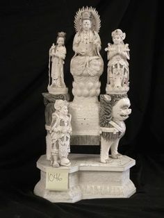 Chinese Goddess Ivory Statue/Carving on LiveAuctioneers Guanyin, Buddha, Porcelain, Ivory, Chinese, Carving, Statue, Porcelain Ceramics, Wood Carvings