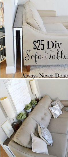 Handgemachter dünner Sofa-Tisch.  Gewinnen Sie zusätzlichen Tisch Platz ohne Aufnahme von jedem Raum durch den Bau einer schmalen Sofa-Tisch wie dieser, um hinter Ihrem Sofa Platz!