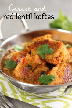 Carrot and red lentil koftas - an easy vegan idea for serving with your favourite curry sauce, so tasty!