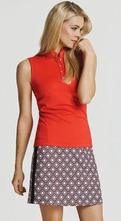 Spanish Rouge Tail Ladies Tomatine & Nouveau Lattice Golf Outfit (Shirt & Skort) at #lorisgolfshoppe