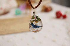 Cute Tear Drop Blue Bird Handmade Lampwork by ZJJewelry on Etsy, $8.90