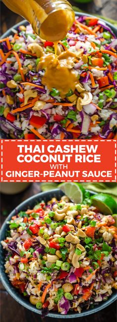 Cashew Coconut Rice with Ginger Peanut Dressing. This rice salad is serious Thai Cashew Coconut Rice with Ginger Peanut Dressing. This rice salad is serious. Thai Cashew Coconut Rice with Ginger Peanut Dressing. This rice salad is serious. Ginger Peanut Sauce, Whole Food Recipes, Cooking Recipes, Rice Recipes For Dinner, Comida India, Soup And Salad, Pasta Salad, Salad Sauce, Vegetarian Recipes