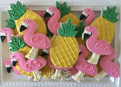 Flamingo and pineapple decorated cookies