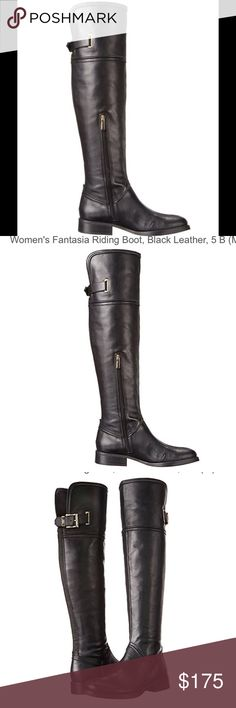 """Vince Camuto fantasia Riding Boot blk leather otk About this item Features Leather Heel measures approximately 1.25 inches"""" Knee-high riding boot with buckle strap and goring inset at back Boot opening measures approximately 15.75"""" around Platform measures approximately 0.5"""" Heel measures approximately 1.25"""" Shaft measures approximately 21.25"""" from arch Vince Camuto Shoes Over the Knee Boots"""