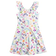 Featuring a cute Minnie Mouse print, this girls' Jumping Beans dress is a darling choice for your Disney fan. In white/multi. Hawaiian Princess, Future Daughter, Jumping Beans, Little Girl Outfits, Girls 4, Sewing For Kids, Dress Backs, Knit Dress, Toddler Girl