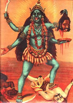 Kālī is represented as the consort of Lord Shiva, on whose body she is often seen standing. Shiva lies in the path of Kali, whose foot on Shiva subdues Kali Tattoo, Kali Goddess, Mother Goddess, Mother Kali, Tantra, Maa Kali Images, Raja Ravi Varma, Kali Mata, Hindu Art