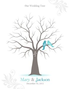 Fingerprint Wedding Tree Guest Book Poster with by TJLovePrints