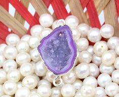 An-3317 Sale! Purple Geode Druzy Sllver Plated Handmade Connector Jewelry Making #Handmade
