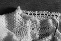 Work In Progress…  This is another collaboration with my mum. She did all the hard work knitting the cardigan, I'm adding some picot edging. It's a pattern from the families heirloom knitting book..my nana's originally.