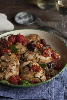 Roasted Chicken Breasts with Tomato, Olive, and Caper Salsa