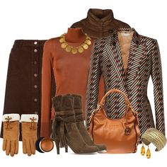 Brown Outfit with Fringed Boots, 12/11/15 by franceseattle on Polyvore featuring мода, Roksanda, STELLA McCARTNEY, Blauer, Monsoon, MICHAEL Michael Kors, HEATHER BENJAMIN, Forever 21 and Estée Lauder