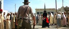 Raiders of the Lost Ark / Indy kicks, I mean shoots some Egyptian ass.  Funny.