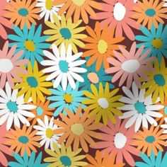 70s Aesthetic, Flower Aesthetic, Cool Patterns, Flower Patterns, Hippie Wallpaper, Hippie Flowers, Cute Room Decor, Daisy Pattern, Surface Pattern Design