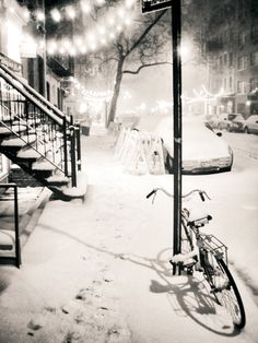 New York City - Snow… Winter nights when the snow... | NY Through the Lens - New York City Photography