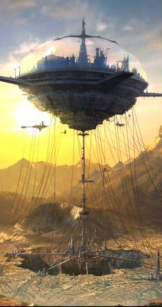Horizon Matte Painting - Reminds me of a book I once read called, & in Flight& sci-fi, flying city, retro-futuristic, science fiction Fantasy City, Fantasy Places, Fantasy Kunst, Sci Fi Fantasy, Fantasy World, Fantasy Story, Digital Art Fantasy, Space Fantasy, Arte Sci Fi