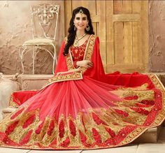 No cash on hand? Don't worry... you can now shop our entire collection from our website and pay using credit card, PayPal or net banking. Buy it online - http://www.aishwaryadesignstudio.com/arresting-red-shaded-saree-with-resham