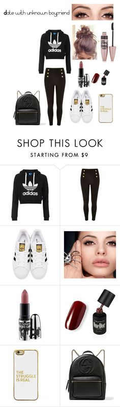"""Date with unknown boyfriend"" by estephens2002 ❤ liked on Polyvore featuring Topshop, adidas Originals, MAC Cosmetics, BaubleBar, Gucci and Maybelline"