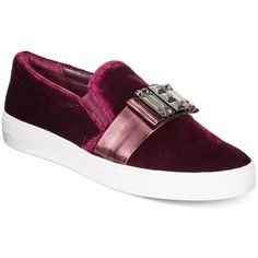 Michael Michael Kors Michelle Slip-On Embellished Sneakers ($160) ❤ liked on Polyvore featuring shoes, sneakers, plum, slip on shoes, pull on sneakers, decorating shoes, embellished sneakers and pull on shoes