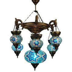 7 ball 110-230v LARGE Turkish Moroccan Hanging Glass Mosaic Chandelier Lamp Lighting