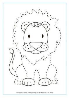 Für Kinder: Lion Tracing Page for Preschool 2019 Preschool Jungle, Preschool Writing, Preschool Learning, Preschool Activities, Preschool Ideas, Early Learning, Animal Worksheets, Animal Activities, Preschool Worksheets