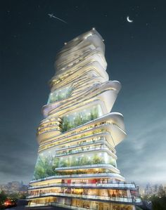 The spiral ramps are aimed at creating a more continuous building without breaks between l...