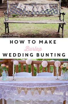 See how easy it is to create your own #DIY Burlap Wedding Bunting for your save the date photo or #wedding reception decor | ahandcraftedwedding.com