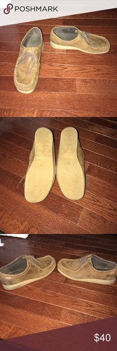 Clarks Walabee's brown size 8 Clarks Walabees. Fair condition. Size 8. There is a small cut in the mold at the bottom. However the shoe still works great. Selling because I got a new pair. Clarks Shoes Mules & Clogs