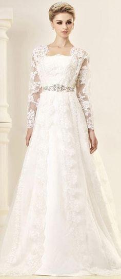 Wedding Dress white lace with long sleeves and beaded belt #PerfectMuslimWedding