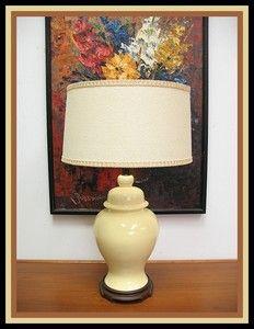 Vintage Ginger Jar Lt Yellow Table Lamp Hollywood Regency Mid Century Modern