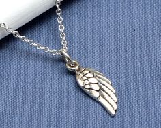 Silver Angel Wing Necklace,Sterling Silver,Silver Wing,Silver Angel, Faith Jewelry, Faith Necklace,Tiny,Small,Delicate,Daity,Faith,Memorial - pinned by pin4etsy.com