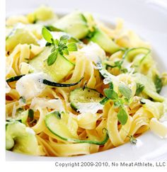 Raw Zucchini Pasta (sun dried tomatoes, garlic, zucchini, grated cucumber, etc)