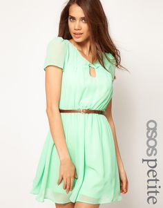Exclusive Skater Dress with Twist Neck and Belt - Lyst
