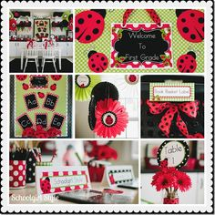 Schoolgirl Style Ladybug Classroom Theme collage. Think this is what I will be going with for my room next year. Have the white walls and black and white stuff already with some green, so this looks to be the winner!