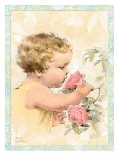bessie pease gutmann prints | Smelling Flowers Prints by Bessie Pease Gutmann - AllPosters.co.uk Bessie Pease Gutmann, Smelling Flowers, Vintage Prints, Vintage Artwork, Wall Art Prints, Poster Prints, Vintage Postcards, Vintage Ephemera, Art For Kids