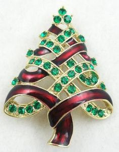 Red Ribbon Christmas Tree Brooch - Garden Party Collection Vintage Jewelry