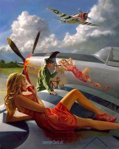 """Aircraft Girls — """"Nose Art/Pin-Up"""" Painting By David Uhl at Cyril. Nose Art, Pin Ups Vintage, Airplane Art, Pin Up Photography, Modeling Photography, Photography Editing, Lifestyle Photography, Editorial Photography, Portrait Photography"""