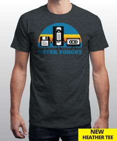 """Never Forget"" is today's £9/€11/$12 tee for 24 hours only on www.Qwertee.com Pin this for a chance to win a FREE TEE this weekend. Follow us on pinterest.com/qwertee for a second! Thanks:)"