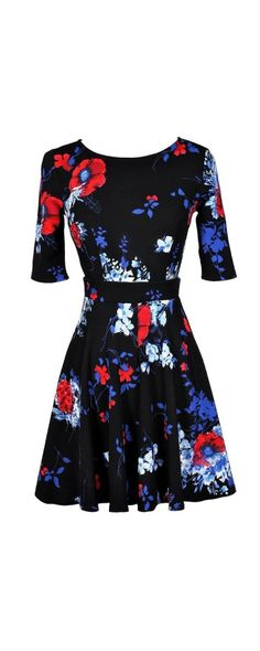 Floral Fit and Flare Dress With Half Sleeves in Midnight Floral   www.lilyboutique.com