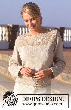 Free knitting patterns and crochet patterns by DROPS Design Sweater Knitting Patterns, Cardigan Pattern, Knitting Designs, Drops Design, Summer Knitting, Free Knitting, Drops Patterns, Work Tops, Pulls
