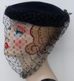 Vintage 1940's Navy Blue Velvet Sharon Full Face Net Lined Pillbox Hat w Hatpins | eBay