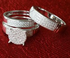 Sterling Silver Trio Rings Wedding Set His and Her 3pcs Hers and His Band | eBay